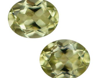 Chrysoberyl Loose Gemstones Oval Cut Set of 2 1A Quality, Approximate Size and Weight 6x4mm TGW 0.75 cts.