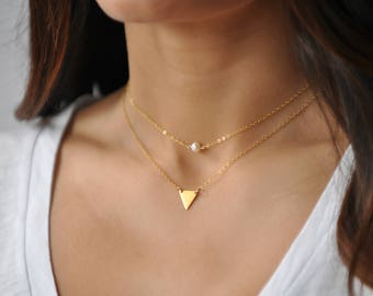 Dainty Triangle Necklace, Tiny Gold Triangle Necklace, Triangle Necklace, Little Gold Triangle Necklace, Layering Necklace,  Delicate NS 71