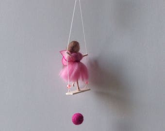 waldorf fairy on swing needle felted