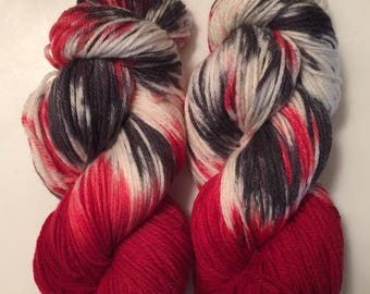 Hand Dyed Yarn worsted weight 100% superwash merino wool| 100 gr | Licorice Snaps |super soft | Free shipping in US