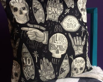 Chillax Skull Surf-Style Cushion Cover (Alexander Henry fabric)