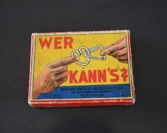 Vintage set of German patience puzzles, metal puzzles, 1950s puzzle games incl. instructions, gift for puzzle fan