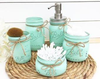 Mason Jar Bathroom Set, Bathroom Organization, Soap Dispenser, Rustic Home  Decor, Bathroom