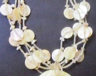Shell Necklace Yellow & bone white Beads choker New Jewelry