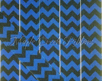 "1"" Electric Blue and Black Chevron Print Grosgrain Ribbon 1"" x 1 yard"
