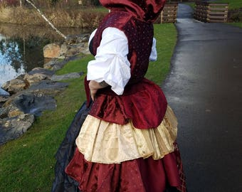 Red and Gold Bustle and Hooded Vest Combo