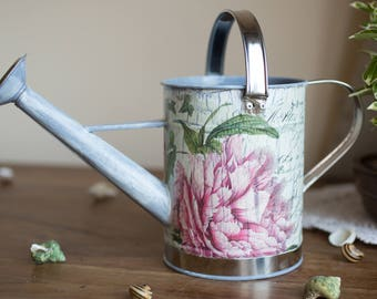 Metal watering hand painted can, Decoupaged watering can, Garden watering can, Garden decoration