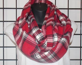 Plaid Infinity Scarf/ Adult Flannel Infinity Scarf / Flannel Scarf / Red-Black-White Flannel Infinity Scarf