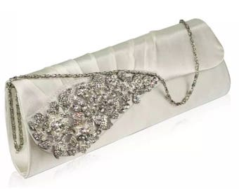 Ivory  Clutch Bag, Evening Clutch, Bridal Clutch Bag,wedding crystal clutch vintage crystal clutch evening clutch ivory  clutch