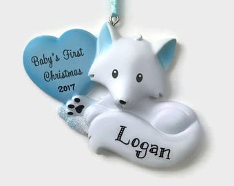 Baby Boy Fox Personalized Ornament - Baby's First Christmas - Hand Personalized Christmas Ornament