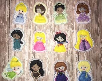 Set of 4 Princess Cuties Felties Feltie Felt Felties Bow! Cinderella Elsa Belle Rapunzel Anna Tiana Sofia Birthday Party Center Planner Clip