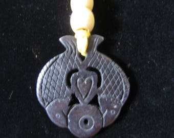 Carved Fish Soapstone Pendant Necklace #97