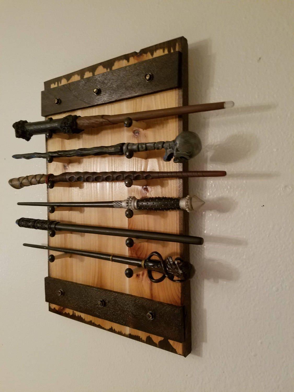 wand display holds 1 to 12 wands wand rack wand display magic wand holder. Black Bedroom Furniture Sets. Home Design Ideas