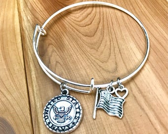 Navy Charm Bangle - Armed Forces Jewelry - Patriotic Charm Bracelet