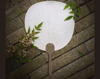 6 pcs Quality Round Paper Fans - Oak Wood Handle Paddle Fan - Wedding, Bridal Bridemaids