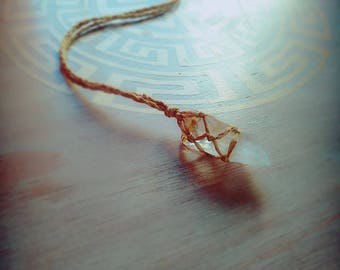 Raw Citrine Crystal Necklace. Gemstone for Success and Creativity. Yellow Cotton Thread. Protection Talisman. Festival Gift. Hippie Gift.