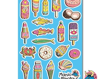 Seaside Stickers, Fish Stickers, Ice Cream Stickers, Donut Stickers, Planner Stickers, Vinyl Stickers, Laptop Stickers, Phone Stickers.