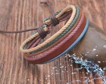 Leather Bracelet, Women's Leather Braclet, Mens Bracelet, Hemp Bracelet, Men's Leather Bracelet,  JLA-17-A-N