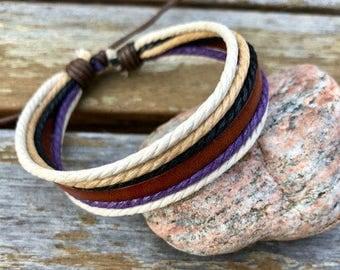 Leather Bracelet For Men and Women Stylish and Colorful Adjustable Bracelet Gift Under 10 JLA60