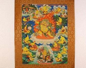 N4568 Hand Painted Tibetan Buddhism Kraft Thangka - Acalanatha