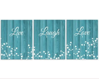 Turquoise Rustic Decor, Live Laugh Love Canvas, Turquoise Wall Art Prints,  Beach House