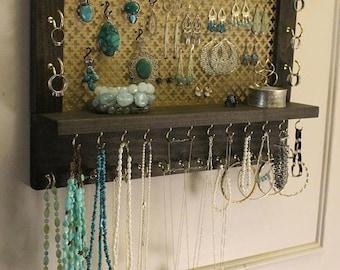 ON SALE Stunning Rustic Ebony, Ready To Ship, Wall Mounted Jewelry Organizer, Jewelry rack, Jewelry Display, Necklace Holder, Earrin