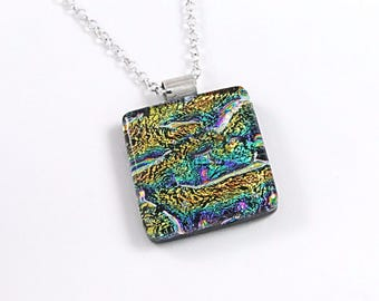 Dichroic Fused Glass Pendant - Multicoloured - Fused Glass Jewelry - Glass Pendant Necklace - Gift for Her