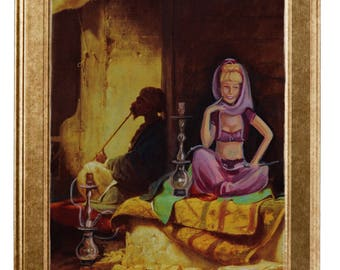 Art print - I dream of Jeannie and a hookah-oil painting DINA4