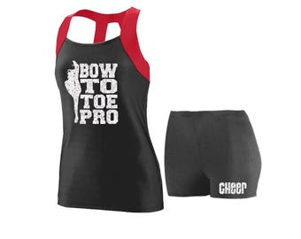 Cheer Practice Set Bow to Toe RED TANK
