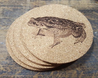 Cane Toad Cork Coasters (Set of Four)