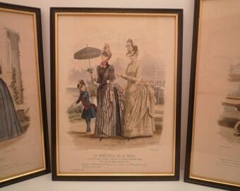 """1800's Antique Fashion Print from French Fashion Magazine """" Le Moniteur de la Mode """" 1886 Paris.  Ladies Dress engraving frame"""