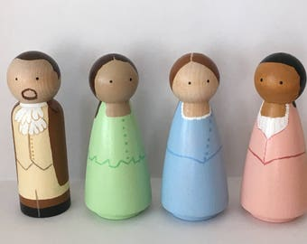 Hamilton the Musical peg dolls, Broadway Hamilton peg people