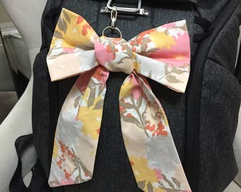 Peach Floral Bag Bow | Diaper Bag Bow | Floral Diaper Bag Bow | Pink Purse Bow | Purse Bow | Purse Charm | Bag Charm | Purse Accessory