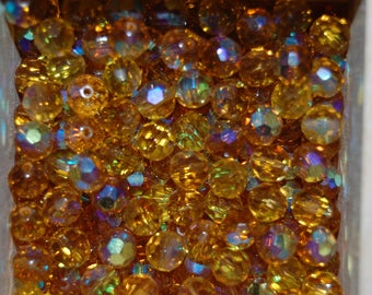 10 round beads 8mm glass faceted topaz ab