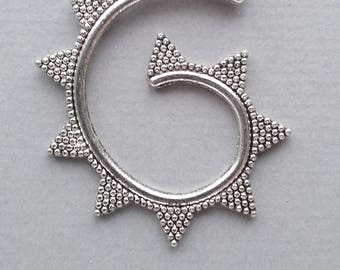 1 spiral pendant with silver metal antique 32x40x2mm
