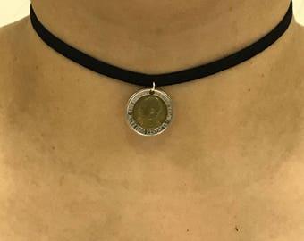Black velvet choker with Kenya 5 Shillings Coin