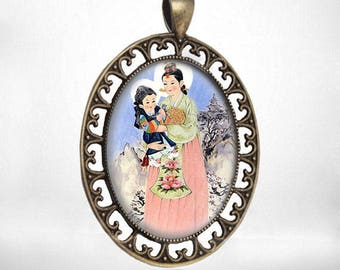 Vintage Religious Catholic Medal Pendant Cabochon Virgin Mary Korean Madonna