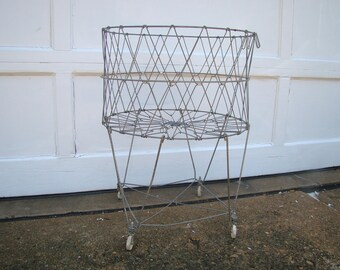 Vintage Collapsible Wire Basket on Wheels