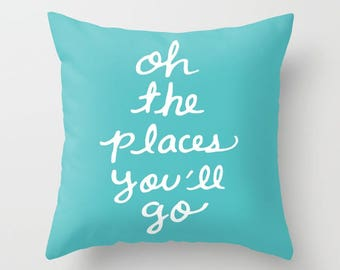 Oh The Places You'll Go Pillow  - Blue Cushion  - Blue Throw Pillow - Accent Pillow - Nursery Pillow - By Aldari Home