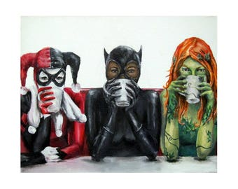 Super Villains Need Coffee -Batman Villains Harley Quinn, Catwoman, Poison Ivy Art Print (unframed)