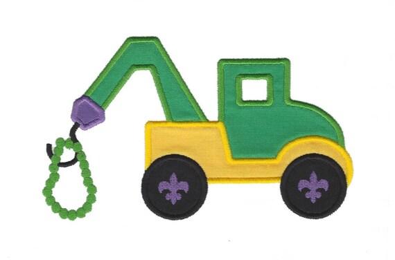Mardi Gras Tow Truck Applique, Truck Applique, Fleur de lis Applique, Mardi Gras Beads Applique