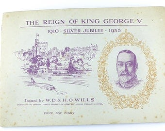 British Cigarette Card Set ( Full set of 50 Cards) - The Reign of King George V. Issued 1935 by Wills Cigarettes.