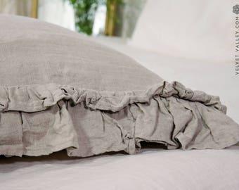 Linen beige pillow sham with ruffles -Softened linen pillow-Standard, queen, king sizes- Natural flax softened linen pillow