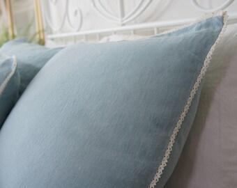 Linen pillow sham with lace- Softened linen duck egg blue cushion- deco lumbar dusty sky blue pillow case- Decorative pillow with lace