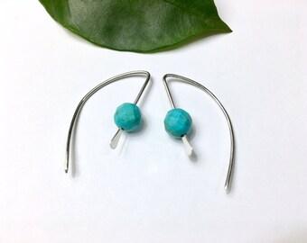 Sterling Silver Earrings Small Hoop Earrings Turquoise Howlite Earrings Birthday Gift for Her Girlfriend Mom Gift Modern Everyday Earrings