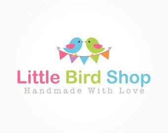 Birds and Bunting Shop Logo Design, Little Bird, Kids Shop Branding, Shop Cover Photo, Banner, Premade Business Brand
