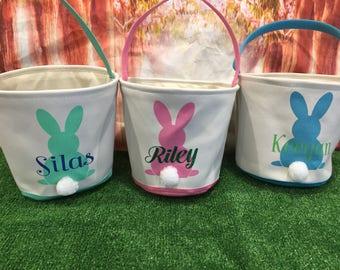 Canvas Easter Basket. Personalized Easter Egg Hunt Pale. Easter Baskets Professional Vinyl Pressing.