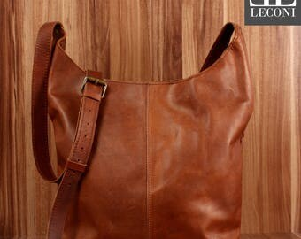 LECONI large shoulder bag shoulder bag women bag purse Leather Brown LE0055-wax