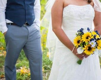 Navy Sunflower Bouquet, Navy Blue Bouquet, Sunflower Bouquet, Rustic Sunflower Bouquet, Sunflower and Daisy Bouquet, Wildflower Bouquet