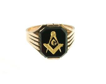 10K Gold Onyx Masonic Ring